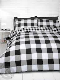 gingham check duvet cover cotton blend reversible bedding quilt