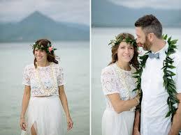 Hawaiian Wedding Dresses Intimate Sandbar Wedding In Hawaii Katie Joe Green Wedding