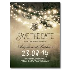 online save the date lights rustic save the date postcard