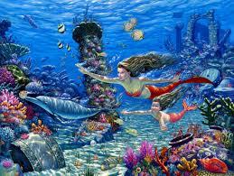 fantasy cg digital art mermaid ocean fish wallpaper 2357x1778