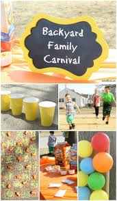 backyard family carnival with snacks and games backyard and babies