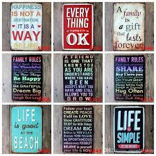 tin home decor metal wall art vintage home decor life quote metal tin sign house
