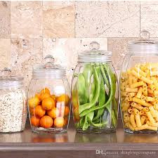 clear glass canisters for kitchen 2018 six edges transparent glass jars seal jars grains tea storage