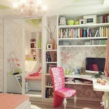 white wallpaper with white wooden desk having shelves and closet