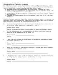 menu figurative language worksheet answers menu figurative