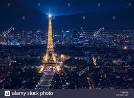 beautiful night scene of illuminated eiffel tower and panoramic