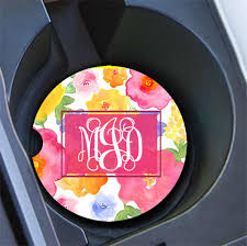 pink car interior monogrammed car cup coasters pretty car decor to gild the lily