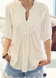 sleeve lace blouse white half sleeve lace patchwork blouse rosewe com usd 28 66
