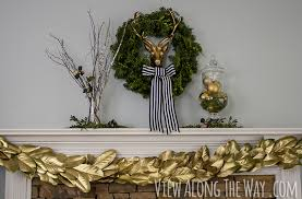 Christmas Banister Garland Ideas Glam Christmas Mantel Gold And Greenery
