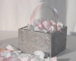 silver rhinestone flower basket with ribbon handle 5 x 5 x 3 5