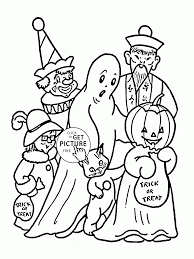 Free Halloween Coloring Page by Trick Or Treat On Halloween Coloring Pages For Kids Holidays