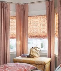 Inside Mount Window Treatments - dual treatment bay window installation flat fold fabric roman