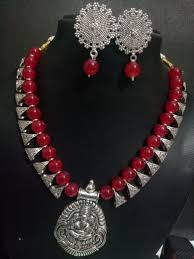 beautiful beads necklace images Beautiful temple silver beads necklace set jpg