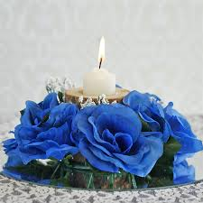 flower candle rings 8 pcs silk roses flowers candle rings royal blue
