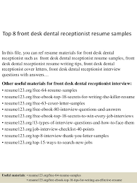 Receptionist Resume Example by Top 8 Front Desk Dental Receptionist Resume Samples 1 638 Jpg Cb U003d1438223292