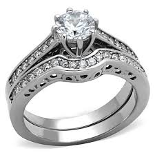 simulated engagement ring silver stainless steel simulated engagement wedding ring