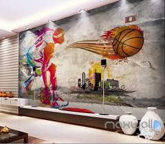 3d basketball illustrated sports art wall paper mural decals print 3d basketball illustrated sports art wall paper mural decals print decor idcwp mx 000088
