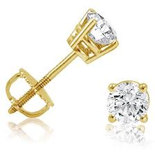 gold diamond stud earrings 14k yellow gold 1 2ct tw diamond stud earrings