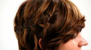 how to braid short hair step by step how to waterfall braid short hair short hairstyles youtube