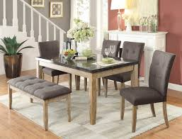 Marble And Wood Dining Table Homelegance Huron Dining Set Faux Marble Top Weathered Wood