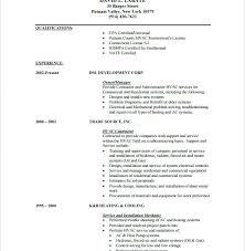 sample resume for hvac technician heavy equipment mechanic resume