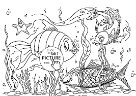 fishes smiling coloring page for kids animal coloring pages