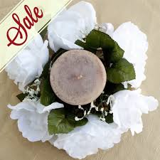 Candle Rings White Silk Flowers Candle Rings For Wedding Centerpieces Sale