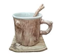 Tree Mug Tree Bark Ceramic Coffee Mug With Saucer Feelgift