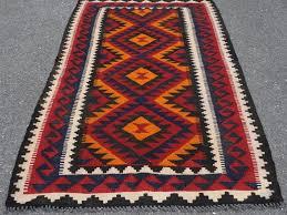 Bright Colored Rugs Handmade Caucasian Kazak Turkmen Bright Colors Blue Apricot Black