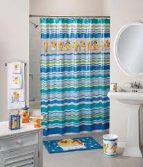 amusing kids bathroom sets ideas feats minimalist fixtures and pedestal sink with fun shower curtain ideas feat awesome kids bathroom set plus round wall mirror