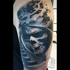 creepy biomechanical style shoulder of human skull with big