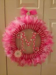 Halloween Tulle Wreath by Whimsical Pink Tulle Wreath With Personalized Monogram In Center