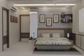 master bedroom with wallpaper design by mahendra jadeja interior