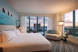 Bedroom With Bed In Middle Of Room Hollywood Beach Suites The Diplomat Beach Resort Located In