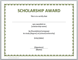 templates for scholarship awards 13 free certificate templates for word microsoft and open office