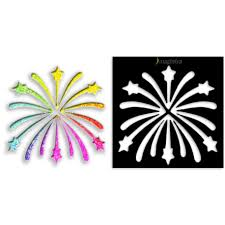glitter tattoo and face paint fireworks stencil