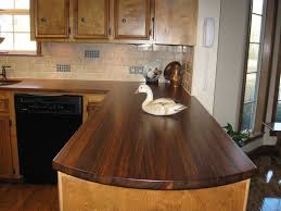 l shaped brown wooden kitchen cabinet using glossy wooden rustic wood countertops