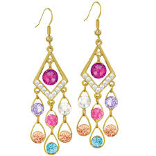 arabian earrings arabian nights multi colour gold tone drop pierced earrings
