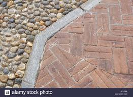floor design with terrace tiles and ornamental gravel various
