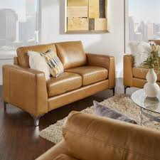 Brown Leather Loveseat Homesullivan Russel 1 Piece Caramel Leather Loveseat 40e938cm 2bls