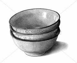 image 3061194 freehand pencil drawing of three bowls from