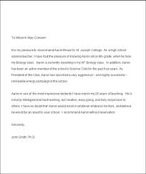 college letter of recommendation from high teacher