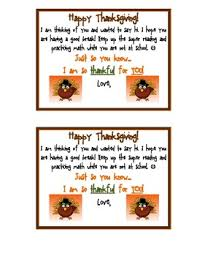 thanksgiving note to send home to students thanksgiving