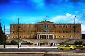 the parliament building at syntagma square athens greece