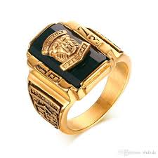 jewelry large rings images Men 39 s rock punk ring gold plated large black cz stone ring men jpg