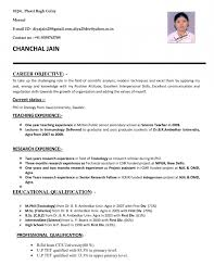 resume format for teaching job in resume template example