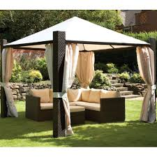 Outdoor Gazebo Curtains by Royalcraft 3m Square Cannes Mocha Brown Gazebo With Ivory Side