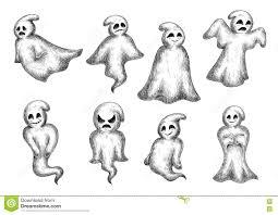 halloween cartoon eerie white ghosts stock vector image 74984392
