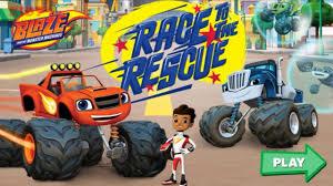 monster trucks for kids blaze race to the rescue videos for kids blaze and the monster