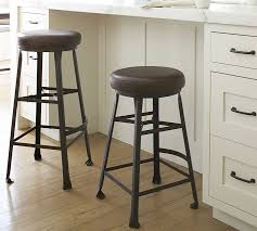 bar stools wood and leather decker leather seat barstool pottery barn